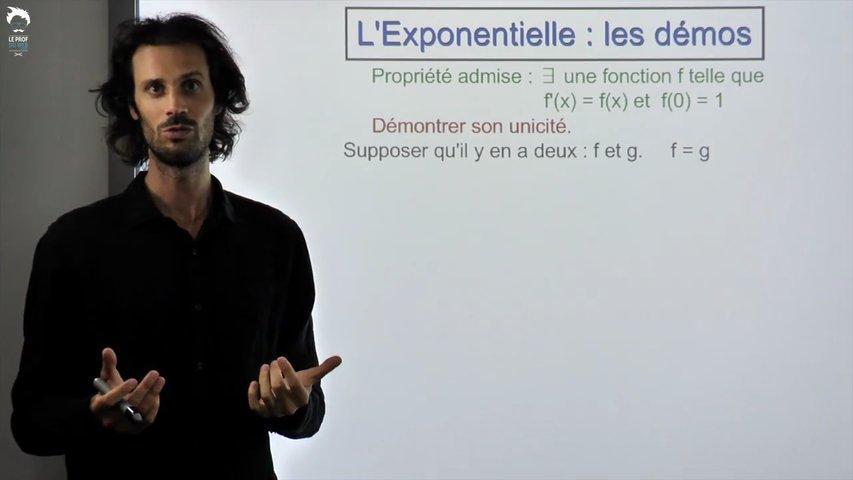 Démonstration de l'unicité de l'exponentielle.