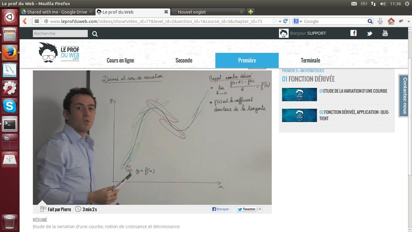 Etude de la variation d'une courbe