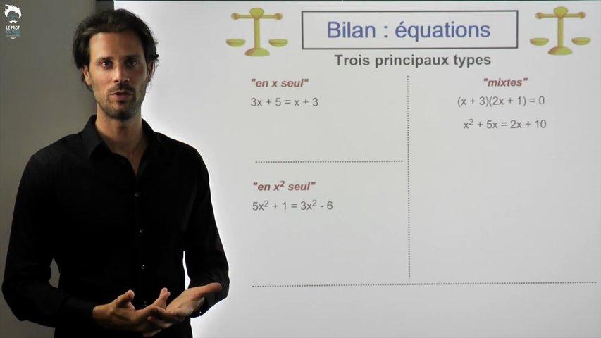 Bilan sur les équations