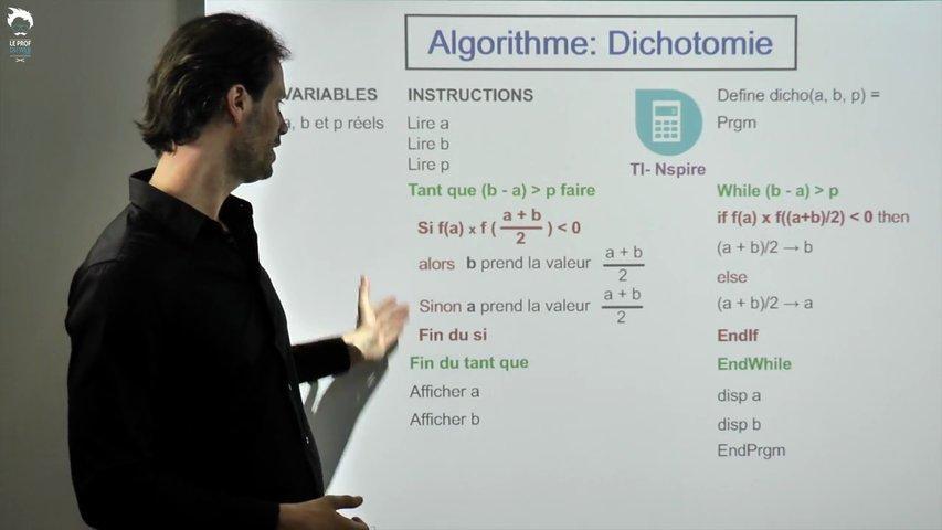 TI-Nspire - Algorithme de dichotomie
