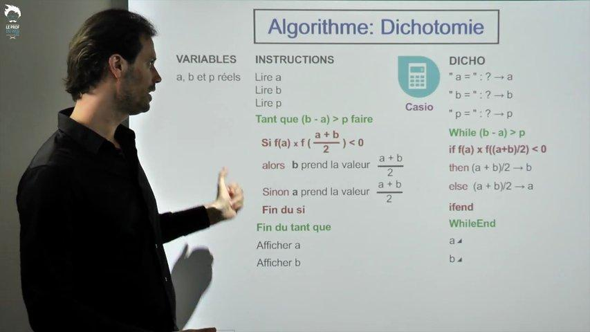 Casio - Algorithme de dichotomie
