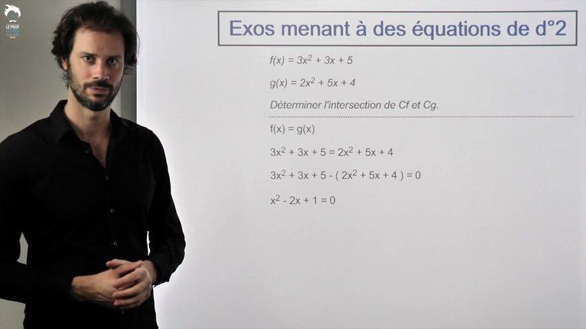 Exercices menant à des équations de degré 2