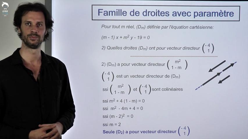Problème d'équation cartésienne avec paramètres.