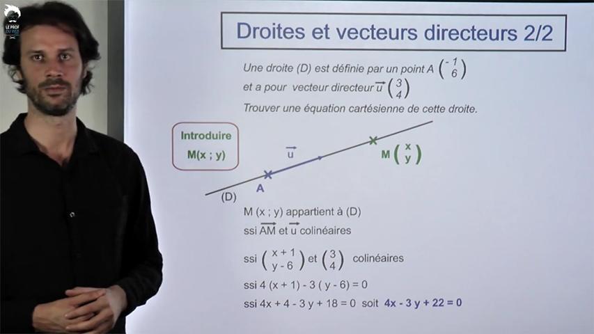 Passage vecteur directeur à équation en passant par la pente