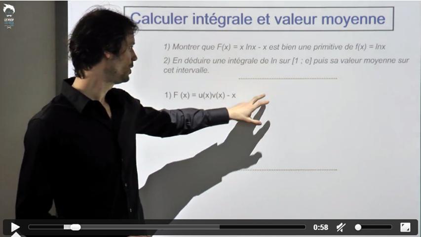 Calculer une intégrale et une valeur moyenne