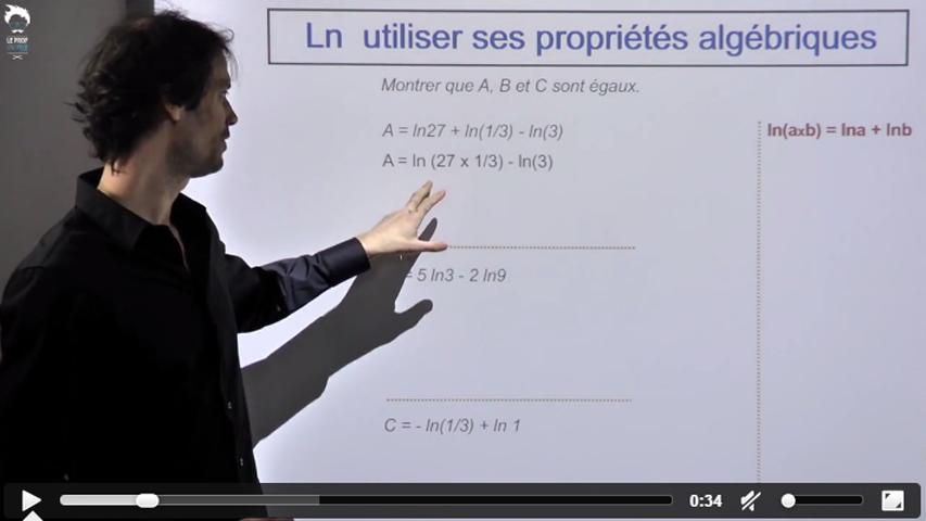 Utiliser les propriétés algébriques de la fonction Ln