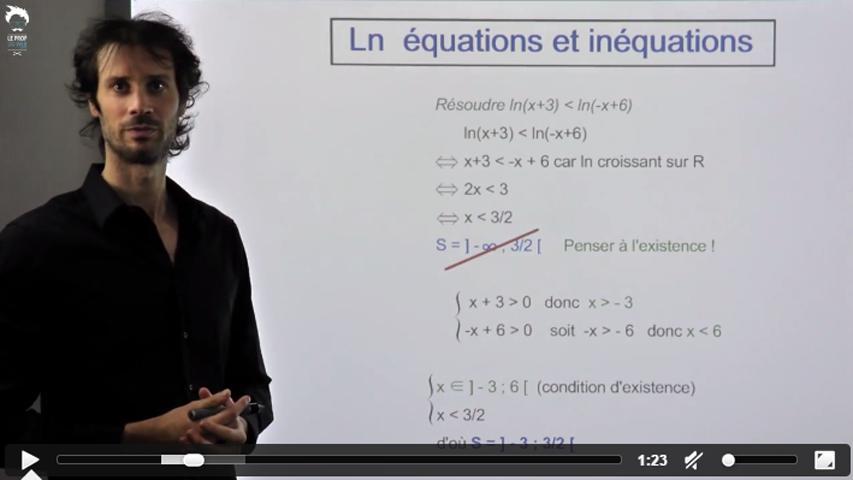 Equations et inéquations contenant des logarithmes népériens - 2/2
