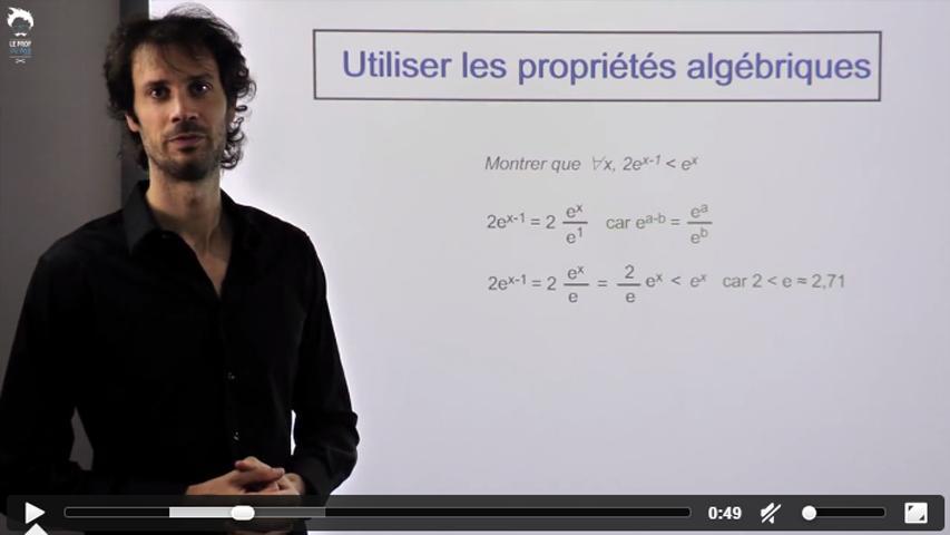 Utiliser les propriétés algébriques de l'exponentielle