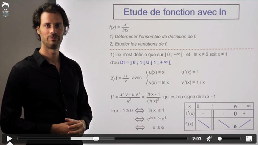 Une autre fonction contenant un logarithme népérien