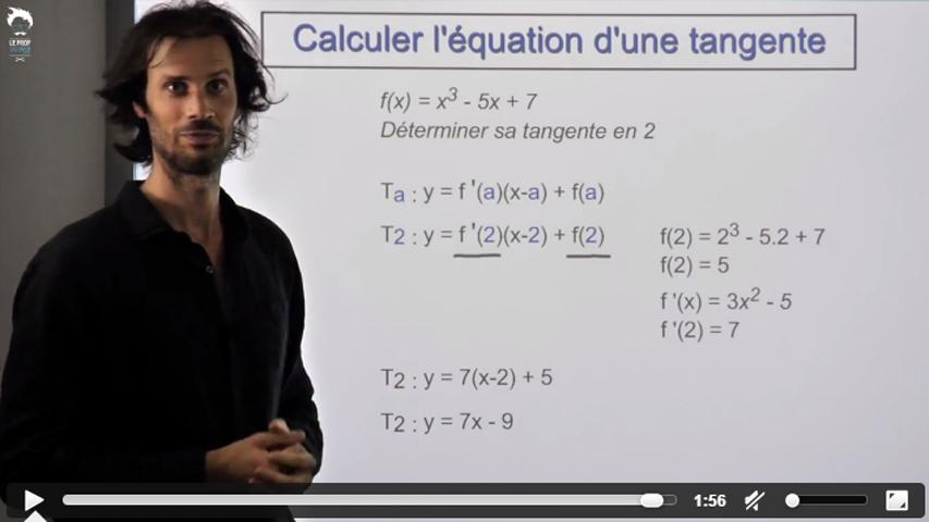Calcul de la tangente en un point