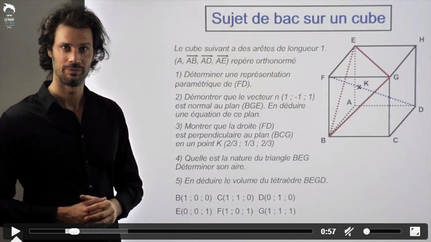 Sujet de bac : géométrie dans un cube