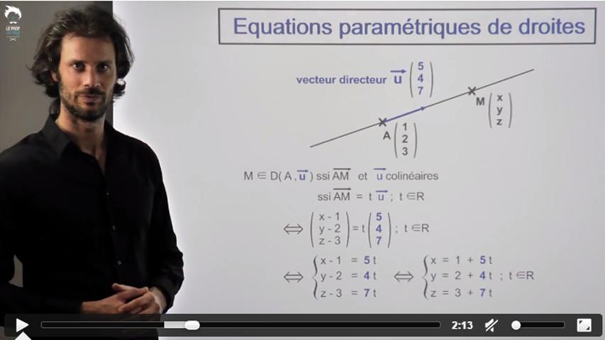 Représentations paramétriques de droites