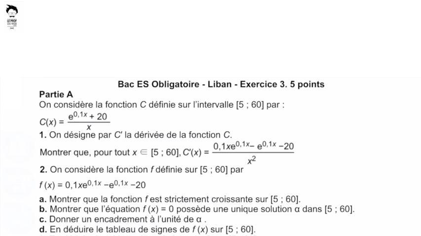 Etude de fonction exponentielle: Liban 2013