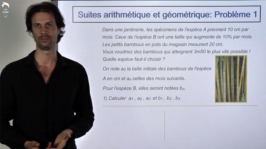 Suites arithmétique et géométrique: évolution comparée 1