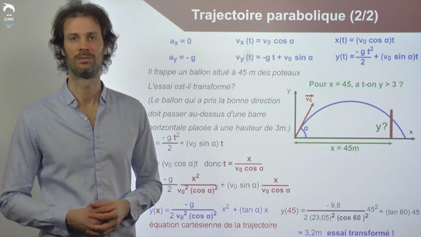 Trajectoire parabolique : applications des équations horaires
