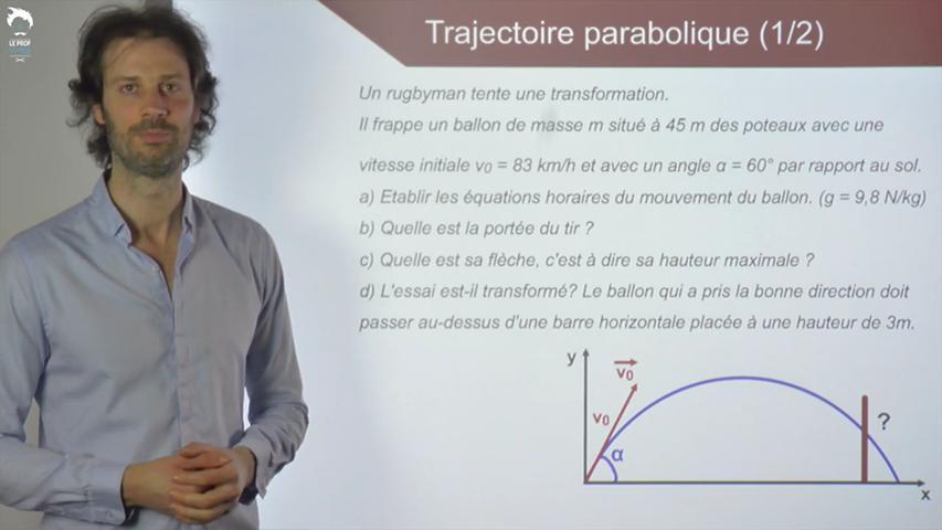 Trajectoire parabolique dans le champ de pesanteur terrestre : équations horaires
