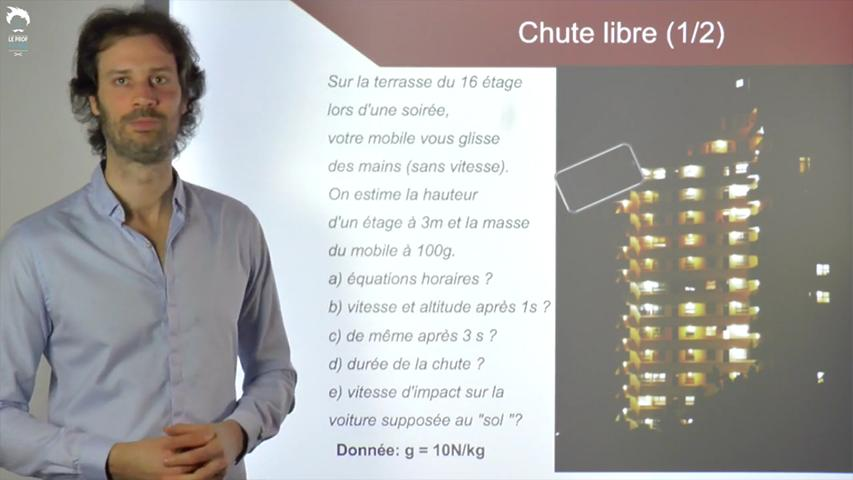 La chute libre : Equations horaires