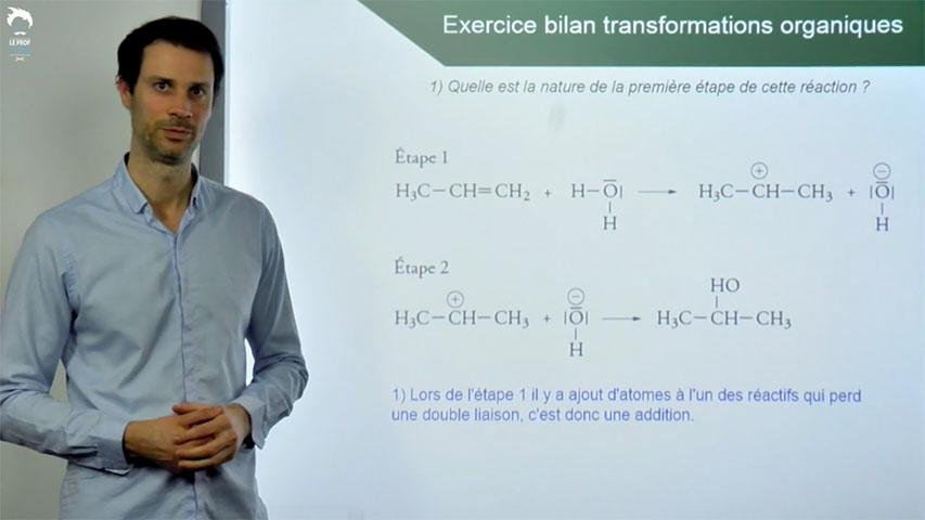 Exercices bilan sur les transformations en chimie organique